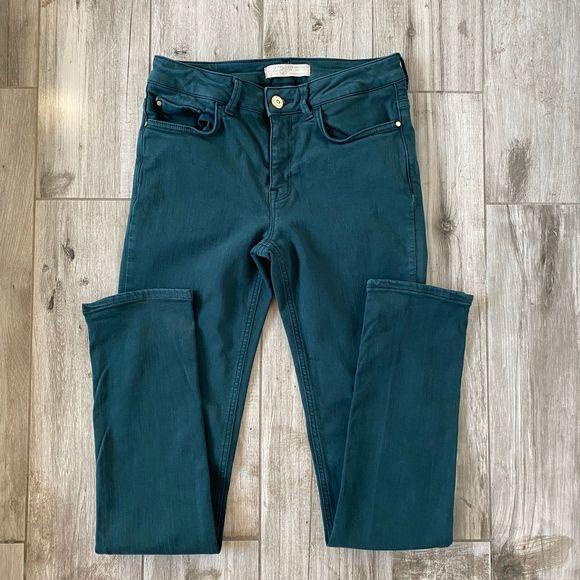 Zara Basic Denim Z1975 Blue Green Skinny Jeans 4